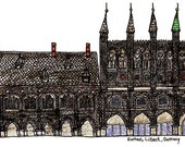 """Lubeck illustration Print of the Rathaus, Germany , illustration grey white wall art home decor - Size A4/ 8,27"""" x 11,7"""" UNFRAMED"""