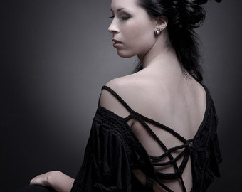 "Black Dress ""B. No 3"", ROHMY Black Label /// Type 2 / asymmetrical / avantgarde / handmade / Nocturne Collection"