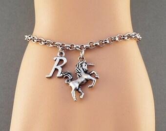 Unicorn charm bracelet, alphabet charm, antique silver, initial bracelet, friendship, mothers, adjustable, monogram