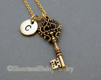 Antique Key charm, antique key necklace, antique gold, initial necklace, initial hand stamped, personalized, monogram