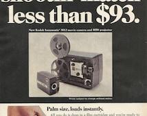 Kodak Instamatic M12 Movie Camera and M50 Projector Original 1967 Vintage Print Ad Color Photo Super 8 Palm Sized