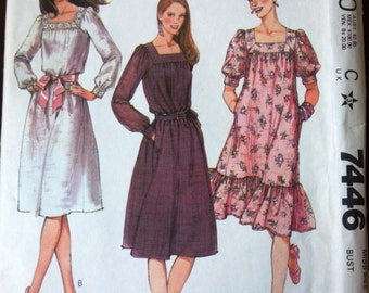 McCall's 7446 Pattern for Misses' Dress, Size 10, From 1981, FACTORY FOLDED & UNCUT, Vintage Pattern, Home Sewing Pattern, 1981 Fashion