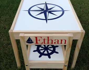 Nautical Decor - Personalized Kids Table and Chair Set
