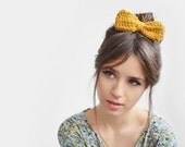 Crochet Hair Bow in Mustard Yellow, Unisex Bow Tie, Hair Clip Bow, Hand Knit  in Custom Colors, Snap Clip Bow, Bobby Pin Bow
