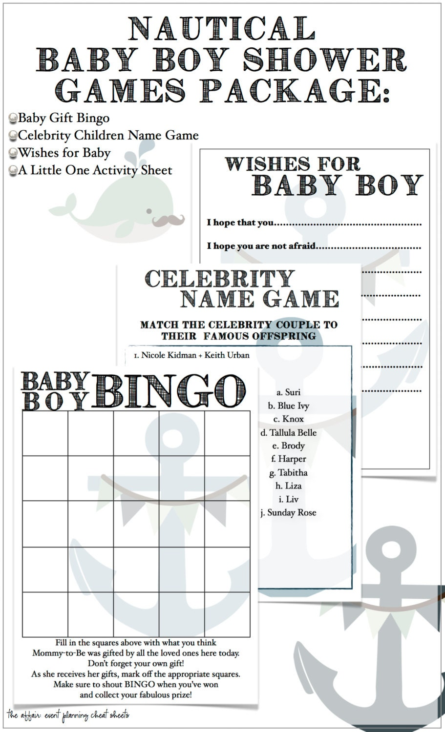 nautical themed baby boy shower game package diy by theaffairshop
