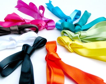 Satin Ribbon Shoe Laces - Choose Your Color - Kids / Toddler Shoe Length Shoelaces - 30 Inches - Blue Green Yellow Red