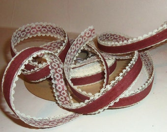 """Vintage Velvet Ribbon On Lace Back with Lace Edge 10 yards 5/8"""" wide SIENNA Brown Velvet White Lace"""