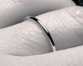 Thin 1.5 mm sterling SILVER ring handmade ring full round smooth plain simple organic skinny classic dainty stacking wedding band 1.5mm wide