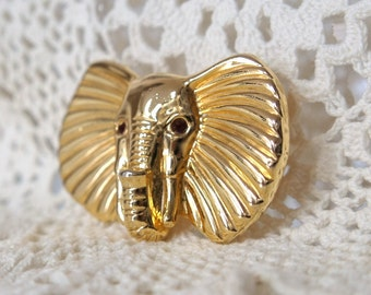 Vintage Pin Vintage Elephant Brooch Lucky Elephant Goldtone Exotic Pin African Elephant Unsigned