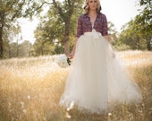 Ivory Tulle Wedding Skirt Floor Length/Maxi Adult A-Line Tutu