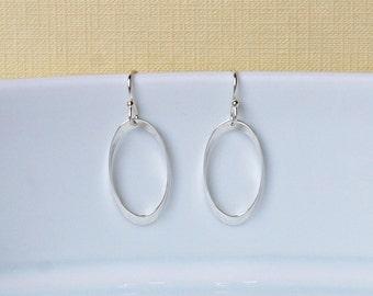 Silver hoop earrings, sterling silver twisted oval hoops, classic earrings, minimalist, womens gift, modern hoops, simple jewelry - Odessa