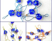 Bead Knitting Stitch Markers - Set of 7 - Select Your Set of Small Cobalt Bead Markers