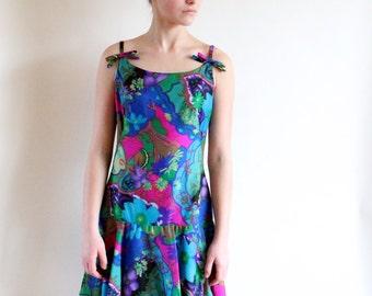 60s dress - vintage paisley dress - 60s party dress - 1960s drop waist dress - medium large