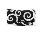 Black and white purse - womens small bag - swirl clutch - evening bag - wristlet - handmade fabric handbag
