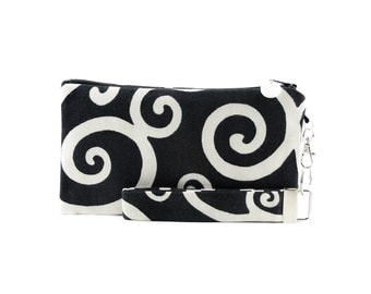 Black and white purse - womens small bag - swirl clutch - evening bag - wristlet - handmade fabric handbag