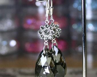Black Diamonds - Long Swarovski Crystal Teardrop Earrings in Black Diamonds and Silver Night - Sterling Silver Leverbacks