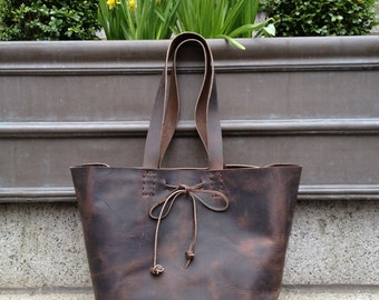 Mini Tote Bag, iPad Tote, Small Leather Women's Handbag, Simple Leather Tote Purse, Handmade iPad Bags and Totes