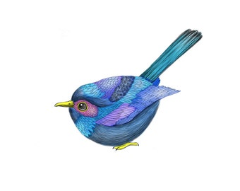 Tiny Blue Bird, digital art print, size 10x8 (No. 10)