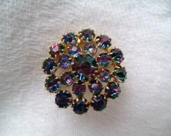 Edwardian Exquisite Rainbow Quartz Iris Glass Brooch -- Treasury Item