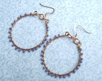 Lilac Beaded Copper Hoops