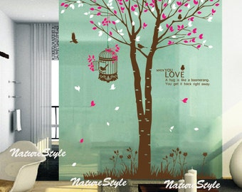 Tree with Flying Birds-nursery wall decal baby wall decal children wall decal room vinyl decal branch wall decal trees decal birds