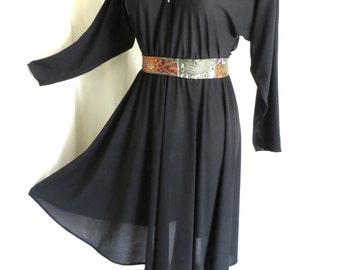 Vintage womens 60s black dress, rhinestone collar, shirtwaist, sheer long sleeve, size L XL
