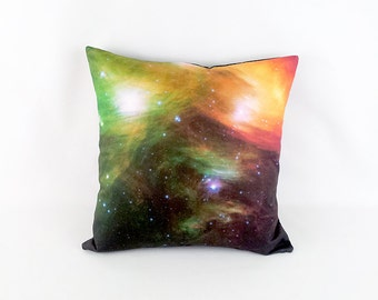 CLEARANCE: Pleiades Seven Sisters Stars Pillow Cover - NASA Outer Space Photo on Fabric; Orange, Green, Black, White