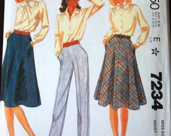 McCall's 7234 Pattern for Misses' Skirt and Pants, Size 14, From 1980, Palmer & Pletsch, Vintage Pattern, Home Sewing Pattern, 1980s Fashion