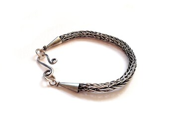Viking knit, sterling silver bracelet