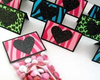 Kids Candy Valentine Cards, Kids School Valentine Treats, Classroom Valentine's Day Party Favor Bags and Topper, Wild About You Animal Print