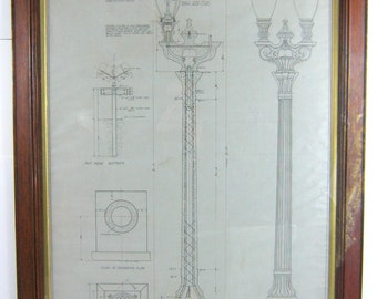 1920s Architectural Drawing Glendale California Antique Lighting Framed