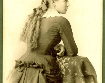 Unusual Back View Long Haired Beauty Cabinet Card