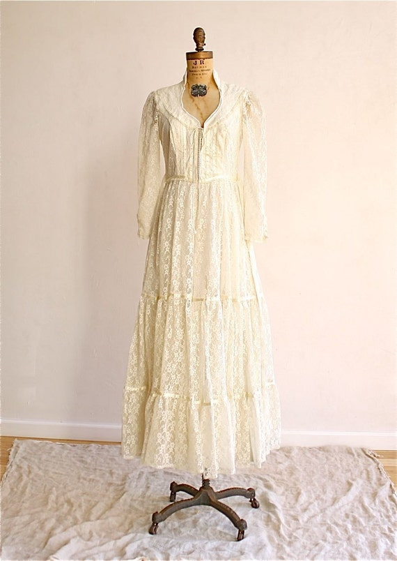 70s Vintage Gunne Sax Lace Wedding Dress Small By Bohemiennes