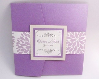 Lavender Wedding Invitation / Purple Wedding / Hydrangea Pocketfold Sample