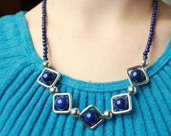 Large Blue Lapis Lazuli Gemstone and Pewter Squares Necklace with Sterling Silver Ball