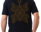 SALE Mens T shirt Black Cotton Tee Psychedelic Fractal print - Graphic Tees - Festival Tshirt For Him - Small