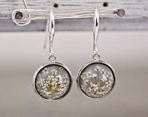 Real dried flower earrings - SILVER GREY II. Elegant jewelry for her.