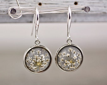 Real dried flower earrings - SILVER GREY II. Elegant jewelry for her.