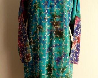 Vintage India Batik Kameez Tunic, Ethnic, Bohemian, Hippie, India Tunic/Dress