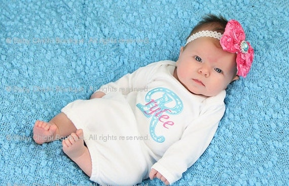 Newborn girl gown Infant gown Baby girl gown Monogrammed gown Personalized gown Take home outfit Aqua and Hot Pink Damask Applique Gown