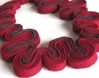 SALE Ecofriendly Felt Necklace Felted Jewelry Statement Necklace Red Wine