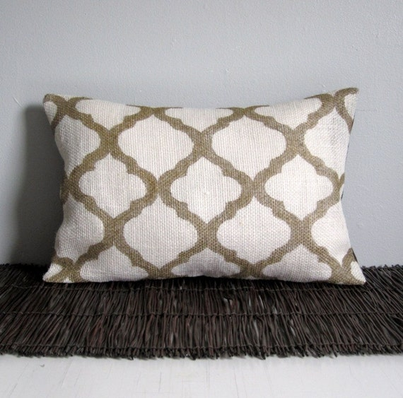 Moroccan Pillow Cover Hand Painted Burlap Lumbar By