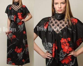 Vintage 70s Dress, Victorian Dress, Vintage Black Dress, 70s Maxi Dress, Floral dress - S/M