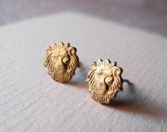 Zodiac Jewelry, Animal Jewelry, Leo Stud Earrings, Leo Star Sign Earrings, Leo Jewelry, August Horoscope, Silver Hypoallergenic  (E174)
