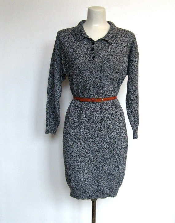 Vintage 1980s New Wave / Mister Noah Black & Gray Sweater Dress
