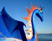 Blue Dragon Flamingo Handmade Garden yard art sculpture up-cycled flamingo home decor