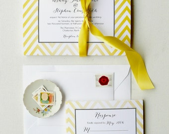 Yellow Wedding Invitations, Chevron Invites, Yellow and Black - Lemon Chevron Invitation Sample, Featured on Country Living