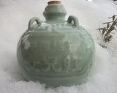 RARE Moon Flask Celadon Jade Green Jug Gift Ideas in Pottery