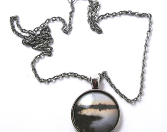 SALE Rainbow Cove Silhouette, Rhode Island, Photographic Domed Glass Cabochon Antique Silver Pendant and Chain 18""