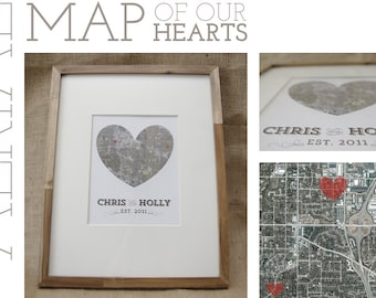 Framed Aerial Map of Our Hearts - Personalized Art Piece - Makes a wonderful wedding, anniversary, engagement or housewarming gift!